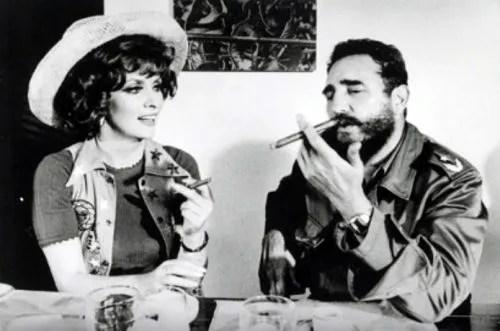 Gina Lollobrigida with Fidel Castro