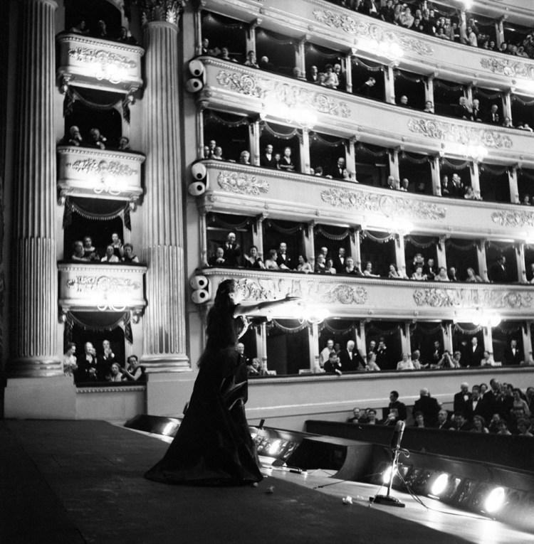 Maria Callas at La Scala after La traviata 1955