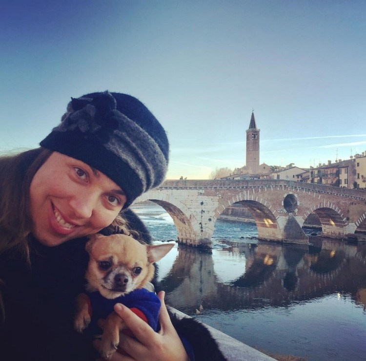 Maria José Siri with her dog Victor in Verona