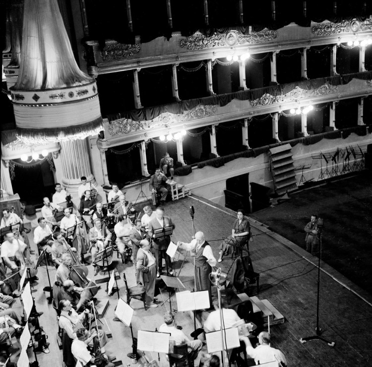 Victor de Sabata during the 1953 recording of Tosca with Maria Callas