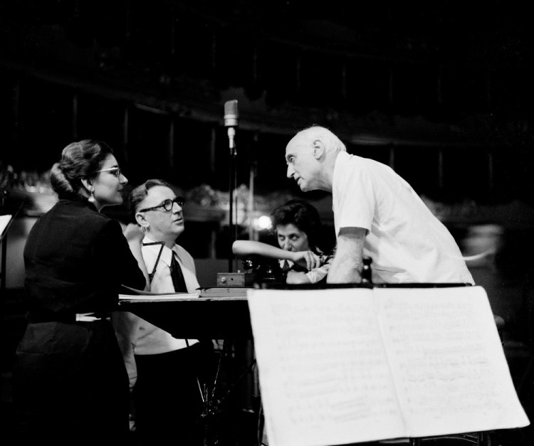 Victor de Sabata with Maria Callas and Walter Legge during the 1953 Tosca recording sessions