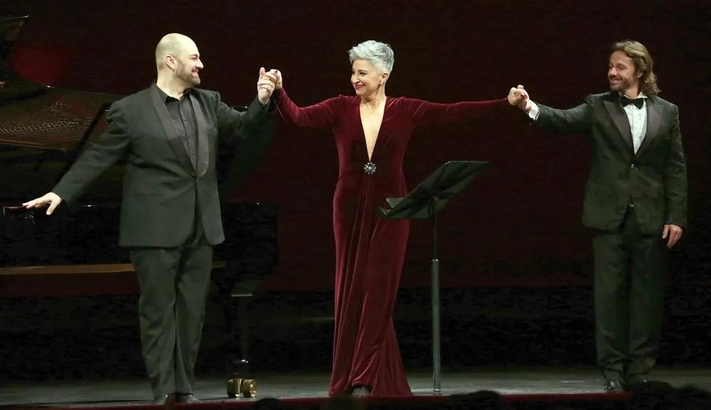 from left, Giorgio Berrugi, Eva Mei and Markus Werba   © Brescia e Amisano, Teatro alla Scala 2018