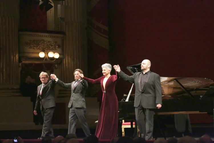 from left, James Vaughan, Markus Werba, Eva Mei and Giorgio Berrugi   © Brescia e Amisano, Teatro alla Scala 2018