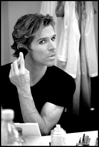 Julien Favreau in his dressing room before a show, Lausanne   photo by A Jottrand