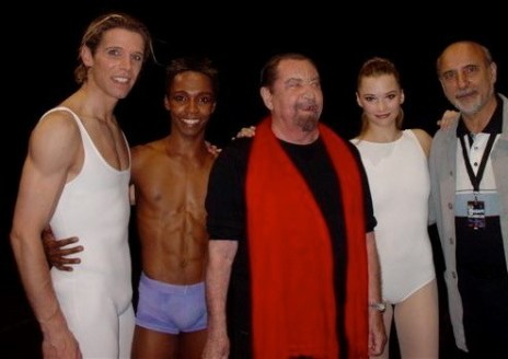 Julien Favreau with Maurice Béjart and Alexander Plisetski after a performance of L'amour la danse, Paris 2004