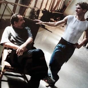Julien Favreau with Maurice Béjart in studio at Béjart Ballet Lausanne, photo by Paolini