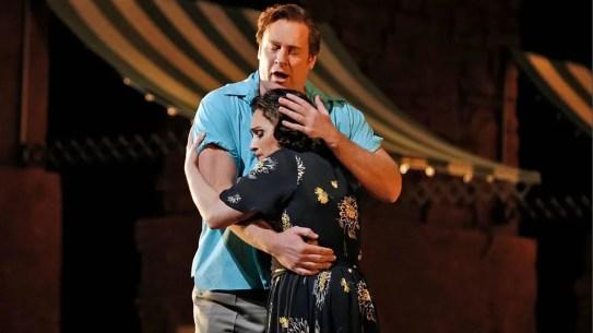 Lucas Meachem as Silvio and Patricia Racette as Nedda © Cory Weaver, Metropolitan Opera