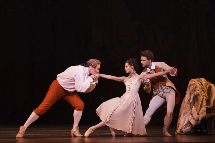 Manon with Christopher Saunders as Monsieur GM, Francesca Hayward and Alexander Campbell as Lescaut ©ROH, 2018, Bill Cooper