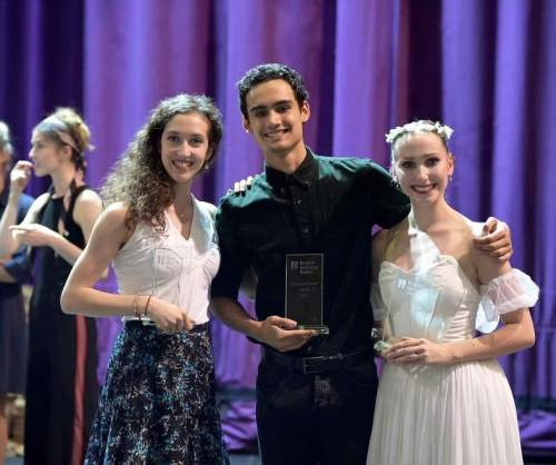 Alice Bellini with her People's Choice Award with Daniel McCormick, Emerging Dancer 2018, and Georgia Bould with the Corps de Ballet Award