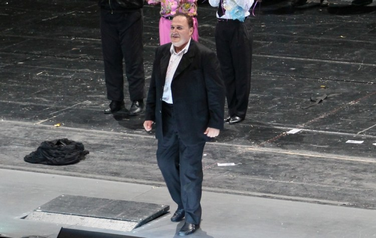 George Gagnidze during the curtain call of Rigoletto, Deutsche Oper Berlin 2016