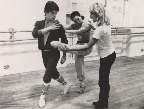 Gillian Lynne rehearsing Trinidad Sevillano and Patrick Armand in Lippizzaner in 1989 for Northern Ballet