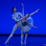 Myriam Ould-Braham and István Simon performing the white swan pdd in Barcelona, photo by Josep Guindo