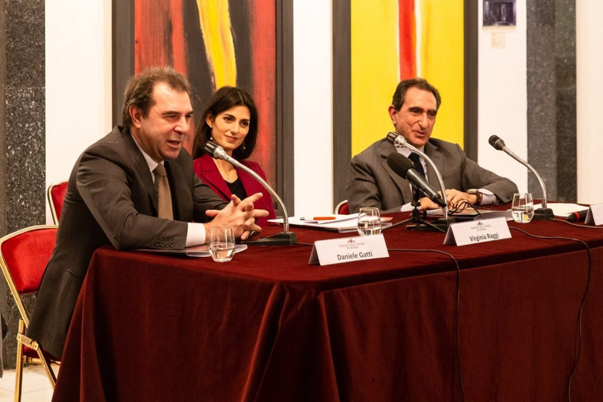 Maestro Daniele Gatti, Rome Mayor Virginia Raggi and Carlo Fuortes, photo by Yasuko Kageyama,Opera di Roma