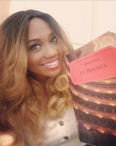 Angel Blue with her Traviata score after her Royal Opera House debut on 24 January 2019