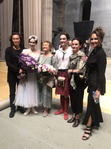 After La Sylphide, from left Vladimir Kim (coach), Olesya Novikova, Gabriela Komleva, Shale Wagman, Tatiana Stepanova, Heather Wagman