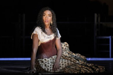 J'Nai Bridges as Carmen, photo by Cory Weaver, San Francisco Opera 2019