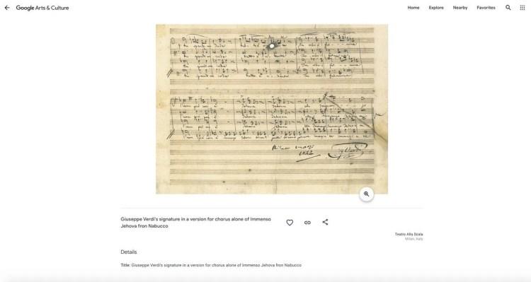 Giuseppe Verdi s signature in a version for chorus alone of Immenso Jehova fron Nabucco, Teatro alla Scala, Google Arts and Culture