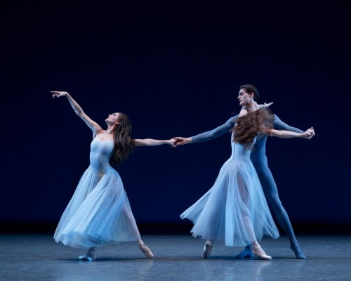 Lauren Lovette with Aaron Sanz and Emilie Gerrity in George Balanchine's Serenade. Photo credit Paul Kolnik