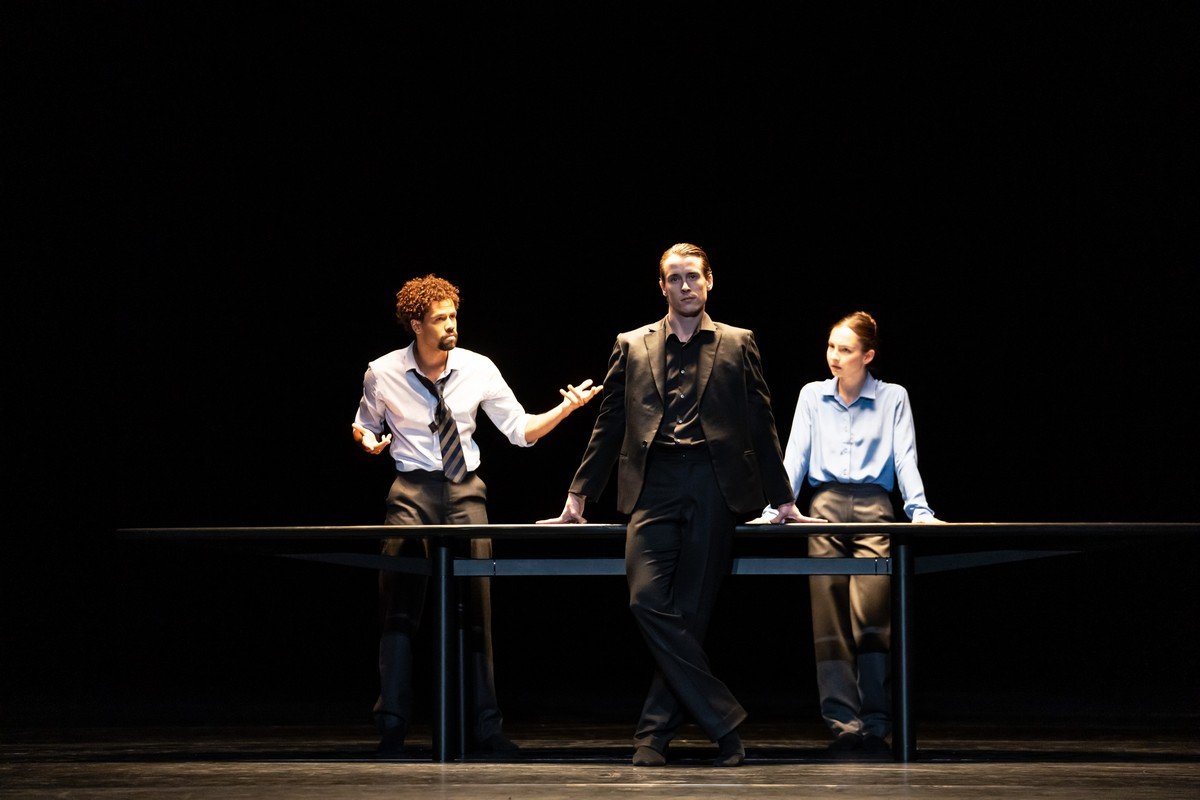 Joseph Sissens, Calvin Richardson and Ashley Dean in The Statement, The Royal Ballet ©2021 ROH. Photograph by Bill Cooper