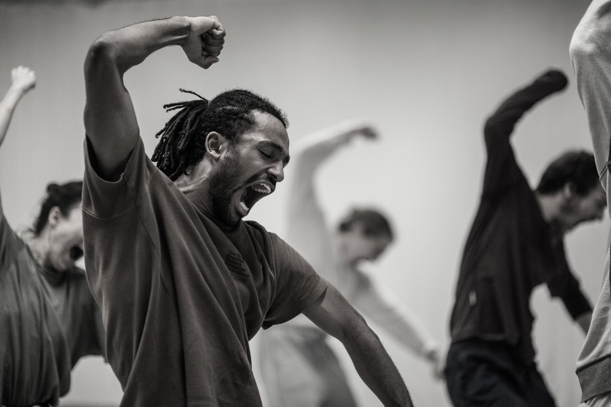 Hofesh Shechter's Double Murder and The Fix in rehearsal, photo by Chris Nash 2020