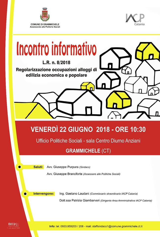 Grammichele : incontro sulle regolarizzazione occupazioni alloggi ed edilizia economica e popolari