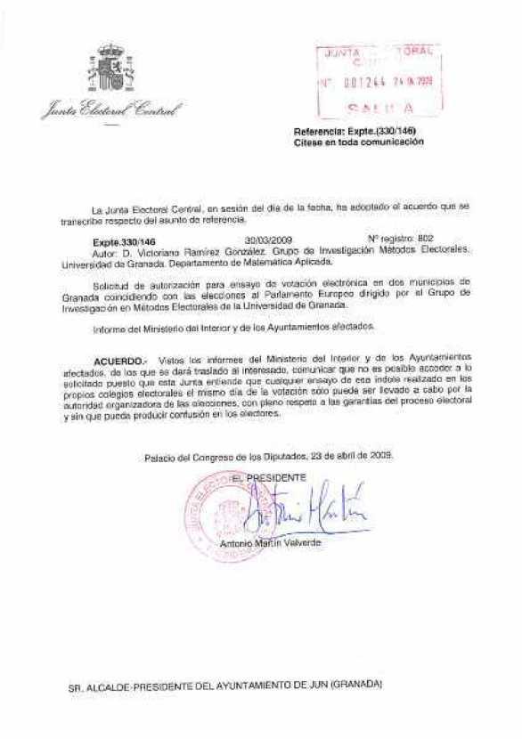 Escrito de la Junta Electoral Central acerca del voto electrónico en Jun