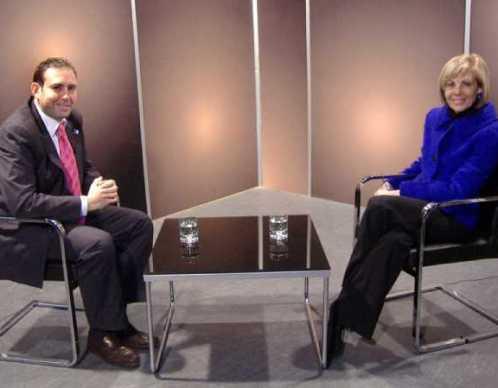La Directora de CETURSA y el Alcalde de Jun unos segundos antes de la entrevista