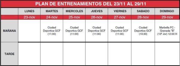 entrenamiento granada b del 23 al 29 noviembre 2015