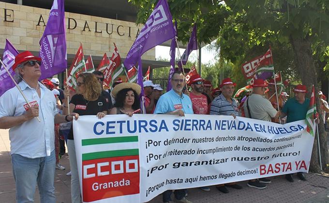 concentracion manifestacion representantes trabajadores cetursa