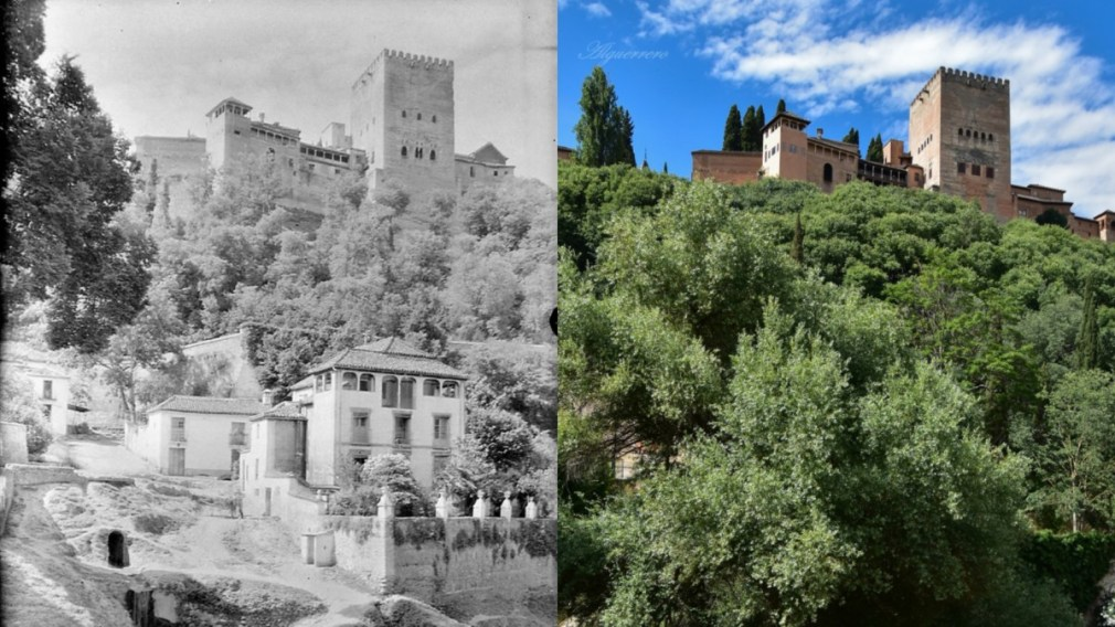 La Alhambra en 1920 y en 2020, fotografías de Otto Wunderlich y Ángel Luis Guerrero
