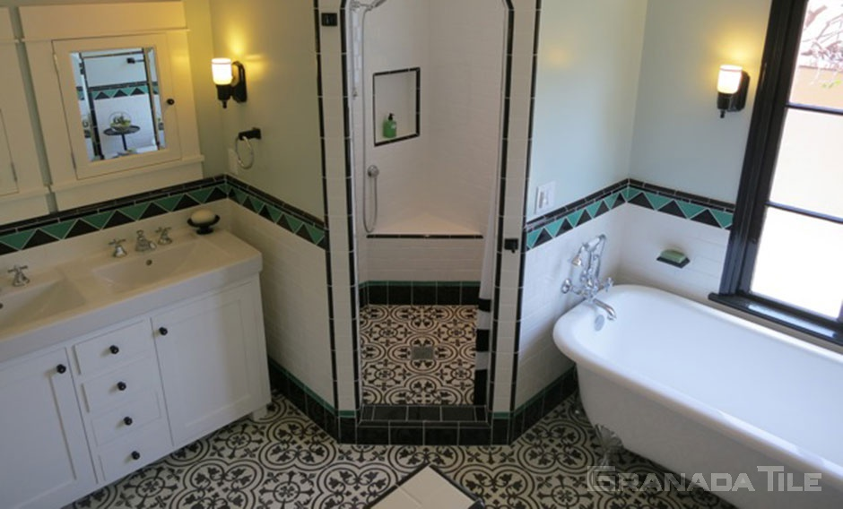 small bathrooms with cement tiles