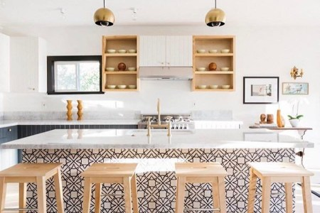 How To Add Color To An All White Kitchen   Granada Tile Cement Tile     In a kitchen designed by ModOp and Better Shelter  Granada Tile s Madesimo  cement tiles transform