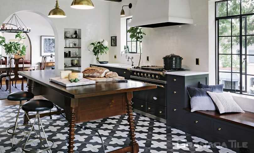 Kitchen Cement Tiles   Cement and Concrete Kitchen Wall Tiles         Concrete Kitchen Floor Tile Badajoz 912 B Design in Black and White