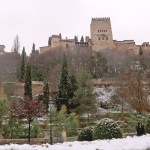 nieve en Granada Alhambra
