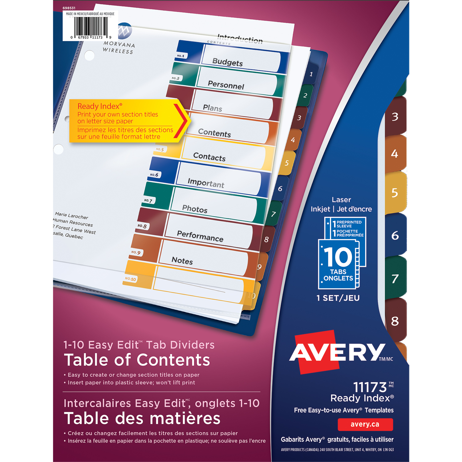 Avery Ready Index Easy Edit Table Of Contents