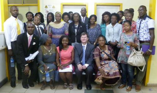 Figure 3: First volunteers and staff together with Prof. Pistorius at the National Hospital in Abuja, Nigeria