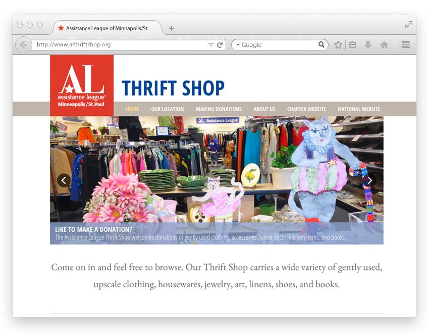 Assistance League Thrift Shop website design