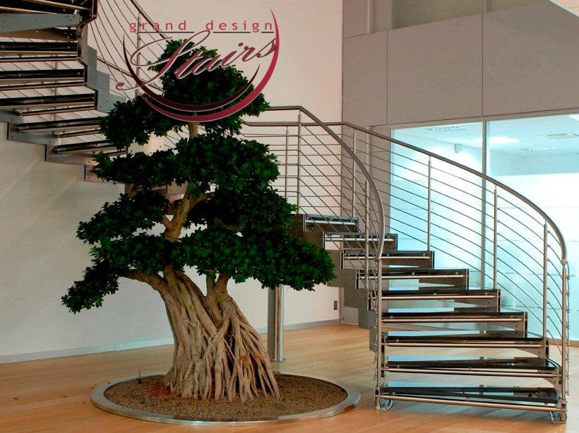 Custom Curved Staircases Models Prices Curved Stairs Costs | Glass Banisters For Stairs Price | Floating Staircase | Railing | Stair Railing Systems | Stainless Steel | Stair Case