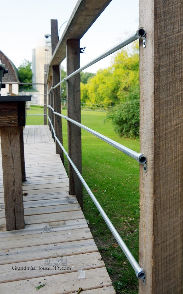 Diy Inexpensive Deck Rails Out Of Steel Conduit Easy To Do | Industrial Pipe Stair Railing | Threaded Pipe | Rail | Banister | Galvanized Pipe | Wall