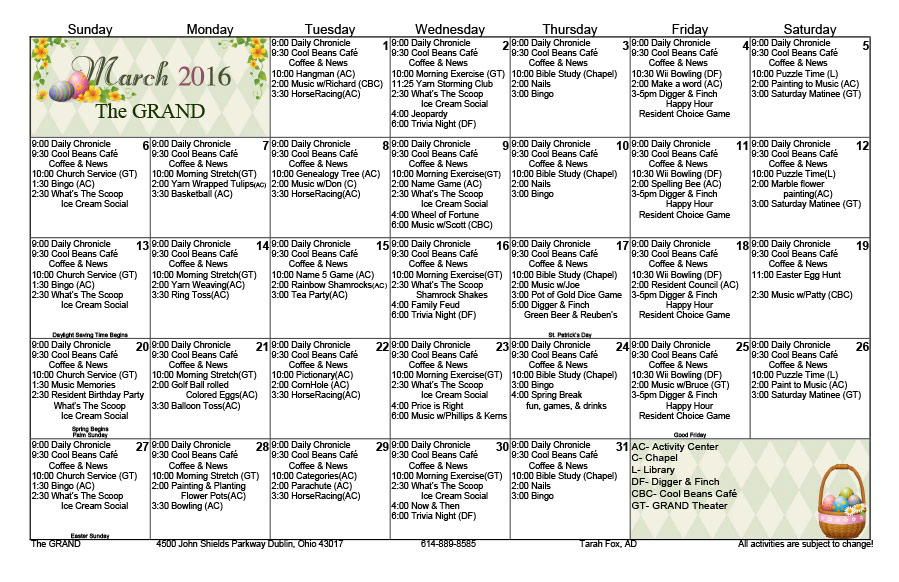 March Calendar Ideas : March activity calendars the grand