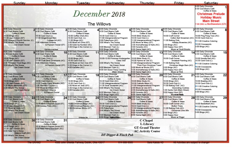 GRAND of Dublin December 2018 Assisted Living Activity Calendar