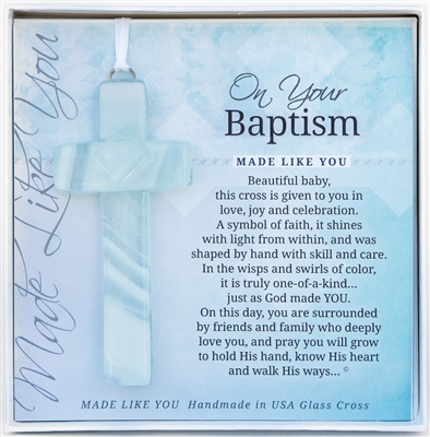 Your Baptism Handmade Glass Cross