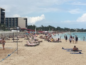Busy beach in front of the new Grand Hyatt, Playa del Carmen