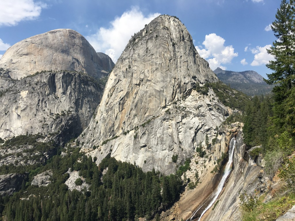 Half Dome, Liberty Cap, and Nevada Fall (left to right) in Yosemite National Park. Photo credit: Brien Crothers