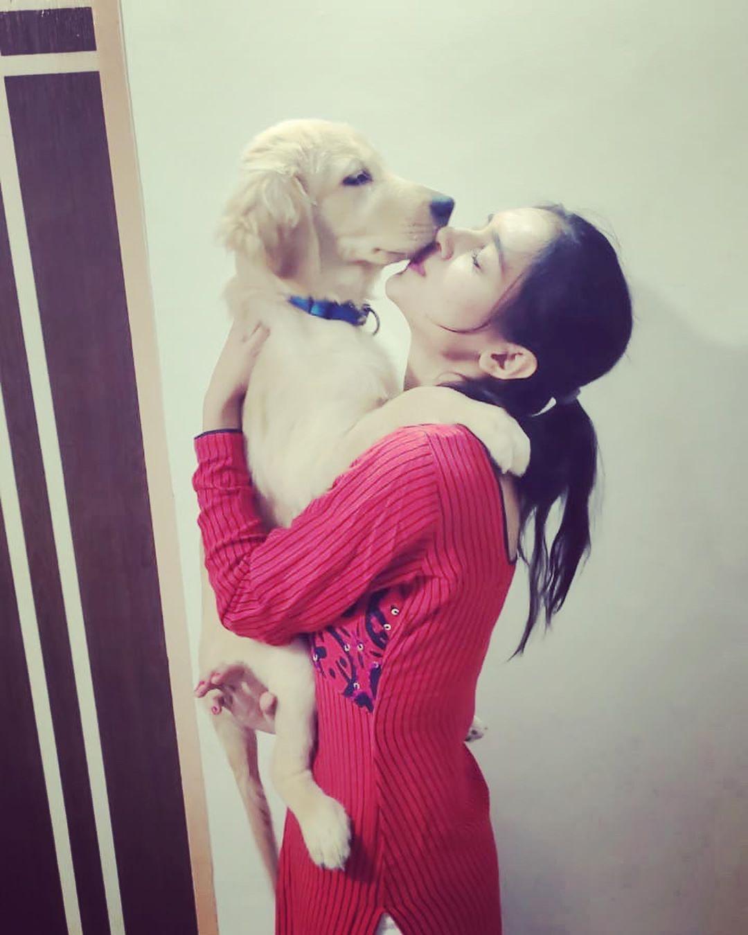 Mallika With Her Dog