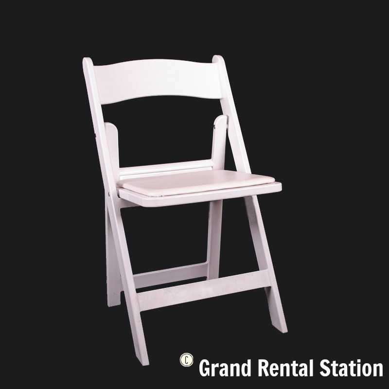 White Padded Folding Chair Grand Rental Station