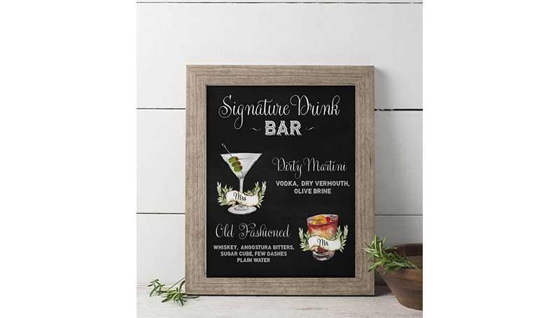 wedding signature drinks sign
