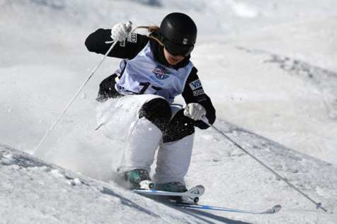 Jaelin in action on the moguls course.