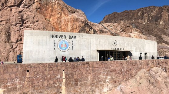 The Hoover Dam exhibits building seen from the road on Grand Canyon tours from Las Vegas.
