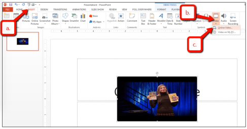 PowerPoint Insert menu; select video, then online video